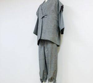 作務衣の上下 袖無し綿入れ半纏